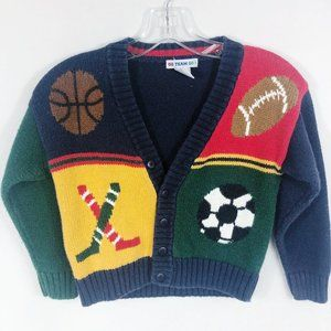 Vintage Boys Sports Themed Knit Sweater Cardigan
